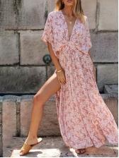 V Neck Bat Sleeve High Split Floral Maxi Dress