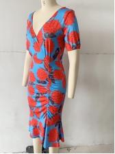 Flounced Hem Floral Short Sleeve Ladies Dress