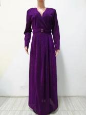 Split Hem Sequin Long Sleeve Evening Dress