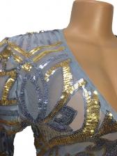 Deep V Neck Flare Sleeve Long Sleeve Sequin Dress