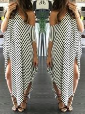 Casual Loose Short Sleeve Striped Maxi Dress