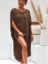 Crew Neck Irregular Hem Loose Leopard Print Dress