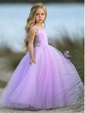 Elegant Gauze Large Hem Girls Flower Dress
