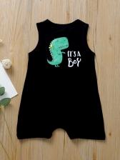 Cartoon Dinosaur Print Sleeveless Romper For Baby