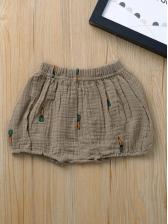 Summer Cartoon Print Elastic Waist Shorts For Girls