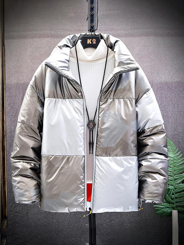 New Style Contrast Color Men Winter Coats