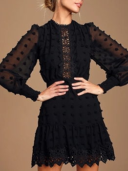 Vintage Lacework Perspective Solid Black Puff Sleeve Dress