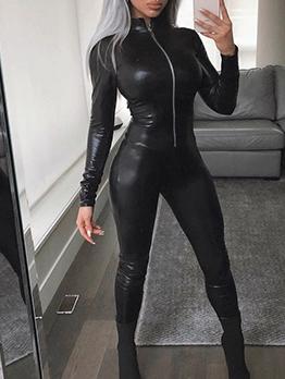 Skinny Pu Black Jumpsuit Women
