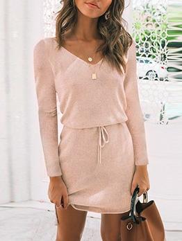 Autumn V Neck Smart Waist Long Sleeve Knit Dress