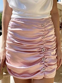 Love Shape Rhinestone Ruffled Chiffon Skirt