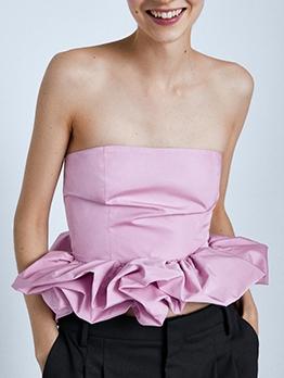 Pink Ruffled Hem Strapless Camisole