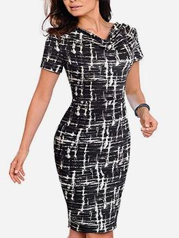 Stylish Print Ladies Short Sleeve Dress