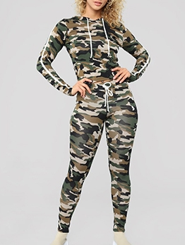 Camouflage Striped Hooded Collar 2 Piece Outfits