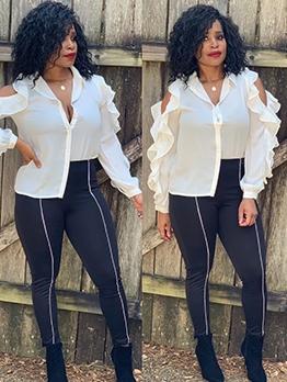 Cold Shoulder Agaric Laces Ladies White Blouse