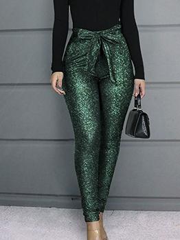 Glitter High Waist Skinny Pants For Women