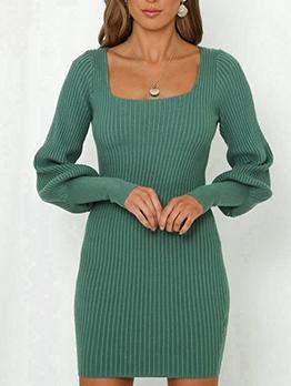 Simple Square Neck Ladies Green Dress