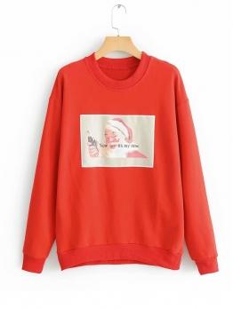 Santa Claus Printed Red Ladies Hoodies