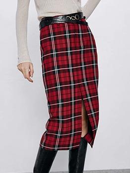 Tartan Straight Split Hem Midi Skirt