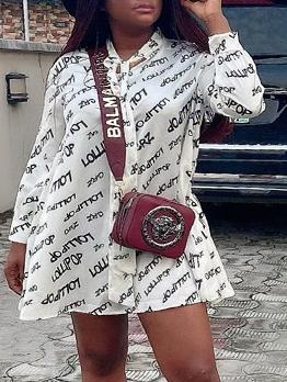 Bowknot Tie Neck Letter Pattern Long Sleeve Dress