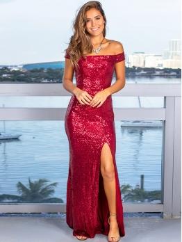 Split Hem Fitted Off The Shoulder Sequin Evening Dress