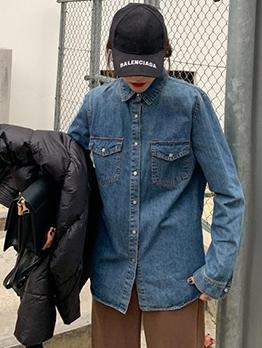 Fashion Two Pockets Denim Blouse