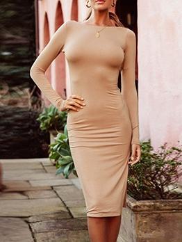 Fashion Backless Long Sleeve Bodycon Dress