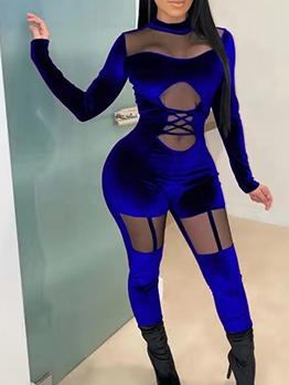 Mock Neck Gauze Patchwork Velvet Skinny Jumpsuit