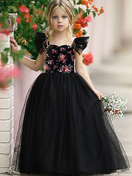 Embroidery Gauze Large Hem Black Flower Girl Dresses