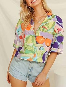 Fruit Print Short Sleeve Blouse Fashion Blouse