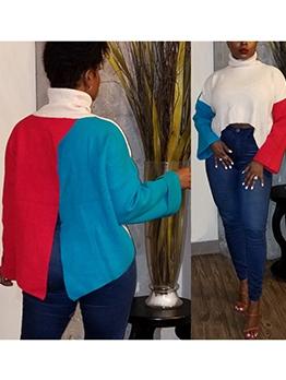 Fashion Long Sleeve Color Block Turtleneck Sweater