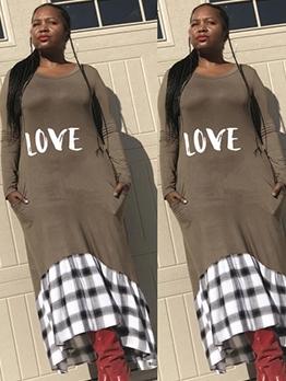 Letter Plaid Patchwork Long Sleeve Maxi Dress