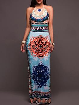 Vintage Style Backless Print Sleeveless Maxi Dress