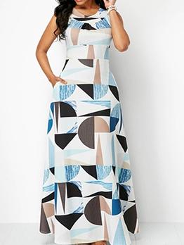Geometric Print Sleeveless Plus Size Maxi Dress