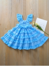 Summer Stringy Selvedge Blue Flower Dress For Girls
