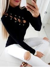 Lace Up Mock Neck Long Sleeve Black T Shirt