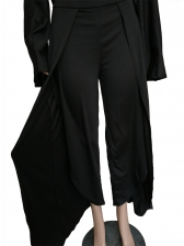 Inclined Shoulder Solid Loose Two Piece Pants Set