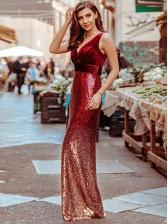 Graduated Color Smart Waist Sequin Evening Dress