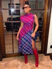 Color Block Plaid Slit Midi Dress