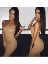 Hot Sale Solid Skinny Strapless Midi Dress For Women