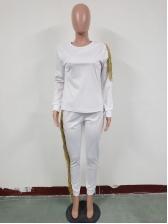 Cold Shoulder Tassel Casual Two Piece Pants Set