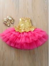 Gauze Patchwork Sequin Sleeveless Flower Girl Gown