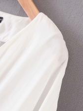 V Neck Button Up Long Sleeve Blouse