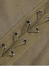 Bandage Patchwork Long Sleeve Casual Dresses