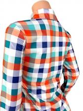 Turndown Collar Pocket Colorful Plaid Blouse