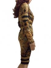 Vintage Court Style Print Long Sleeve Dress