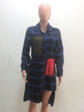 Irregular Color Block Plaid Long Sleeve Shirt Dress