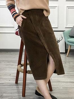 Vintage Solid Split Corduroy Skirt