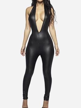Deep V Neck Pu Backless All Black Jumpsuit