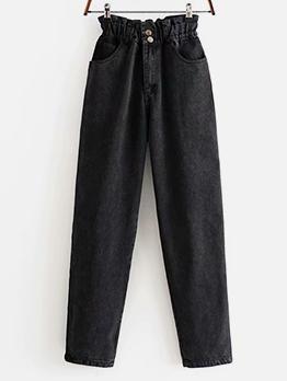 Fashion Paperbag Waist Long Jeans