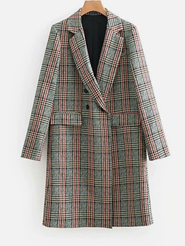 Retro Plaid Long Blazer Coat